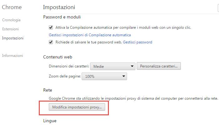come usare proxy google chrome