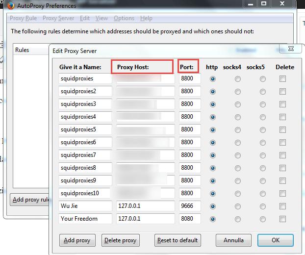come usare i proxy con firefox