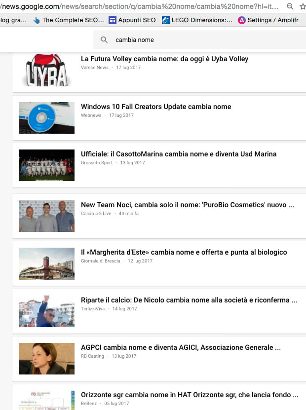 ricerca google news